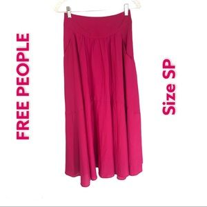 Free People Hot Pink Flare Pocketed Skirt Sz SP